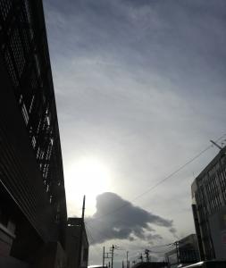 羽根の様な形の大きな雲