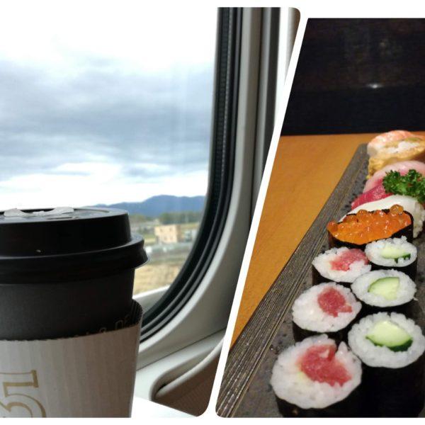 行きはカフェラテ、帰りはお寿司