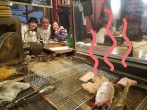 囲炉裏で焼かれたお料理も日本酒も絶品でした