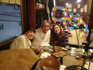 左から冬コンのピアニストさん、やんぱ先生こと岩本達明先生、私。