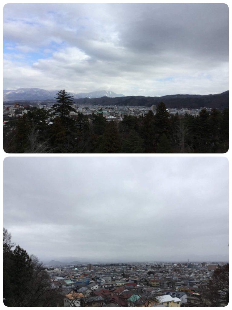 上は鶴ヶ城から飯盛山方向、下は飯盛山から鶴ヶ城方向を眺めた写真
