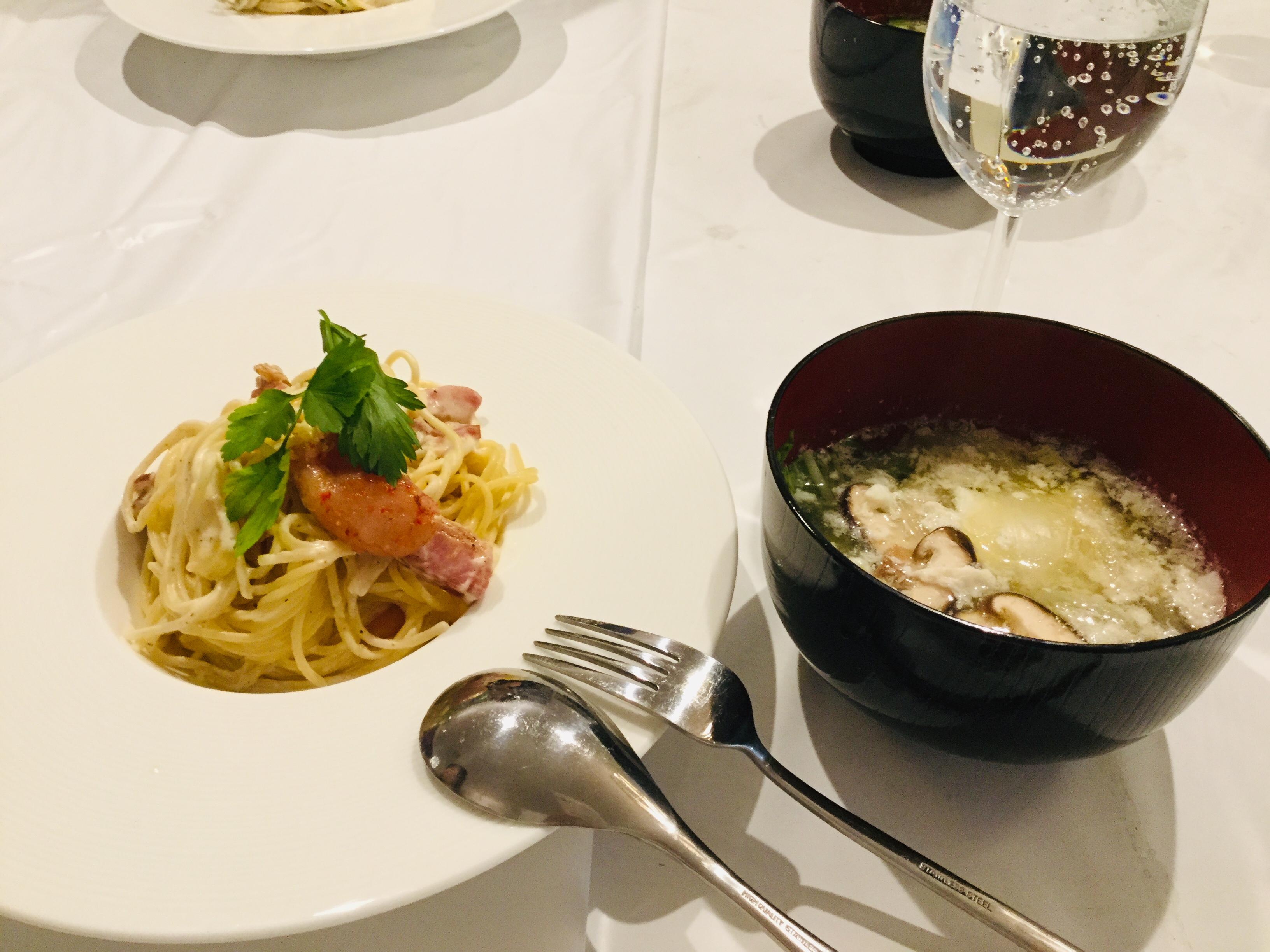 お手製料理は、明太子カルボナーラ!
